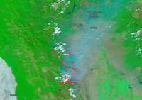 False-color image of the August Fire Complex in California