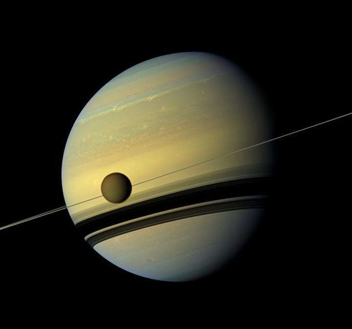 File image of Titan and Saturn