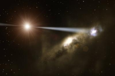 Black Hole Zapping a Galaxy into Existence