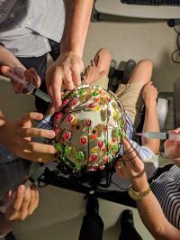 test subject in EEG cap