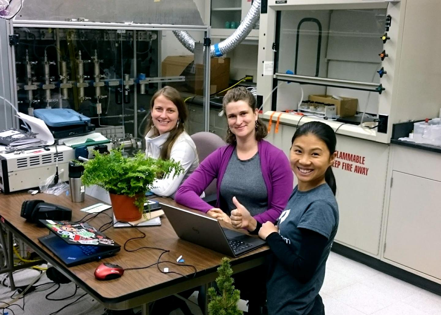 USask-led research team measures air quality in a simulated room in a lab at Syracuse University in 2017.