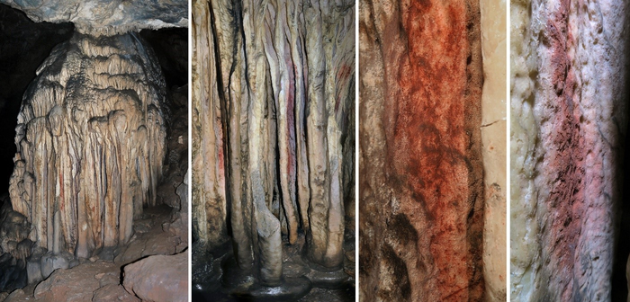 Flowstone formation in the Sala de las Estrellas at Cueva de Ardales (Malaga, Andalusia), with the traces of red pigment analysed and discussed in the article.