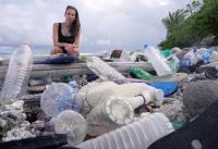 Dr Jennifer Lavers with Plastic Debris
