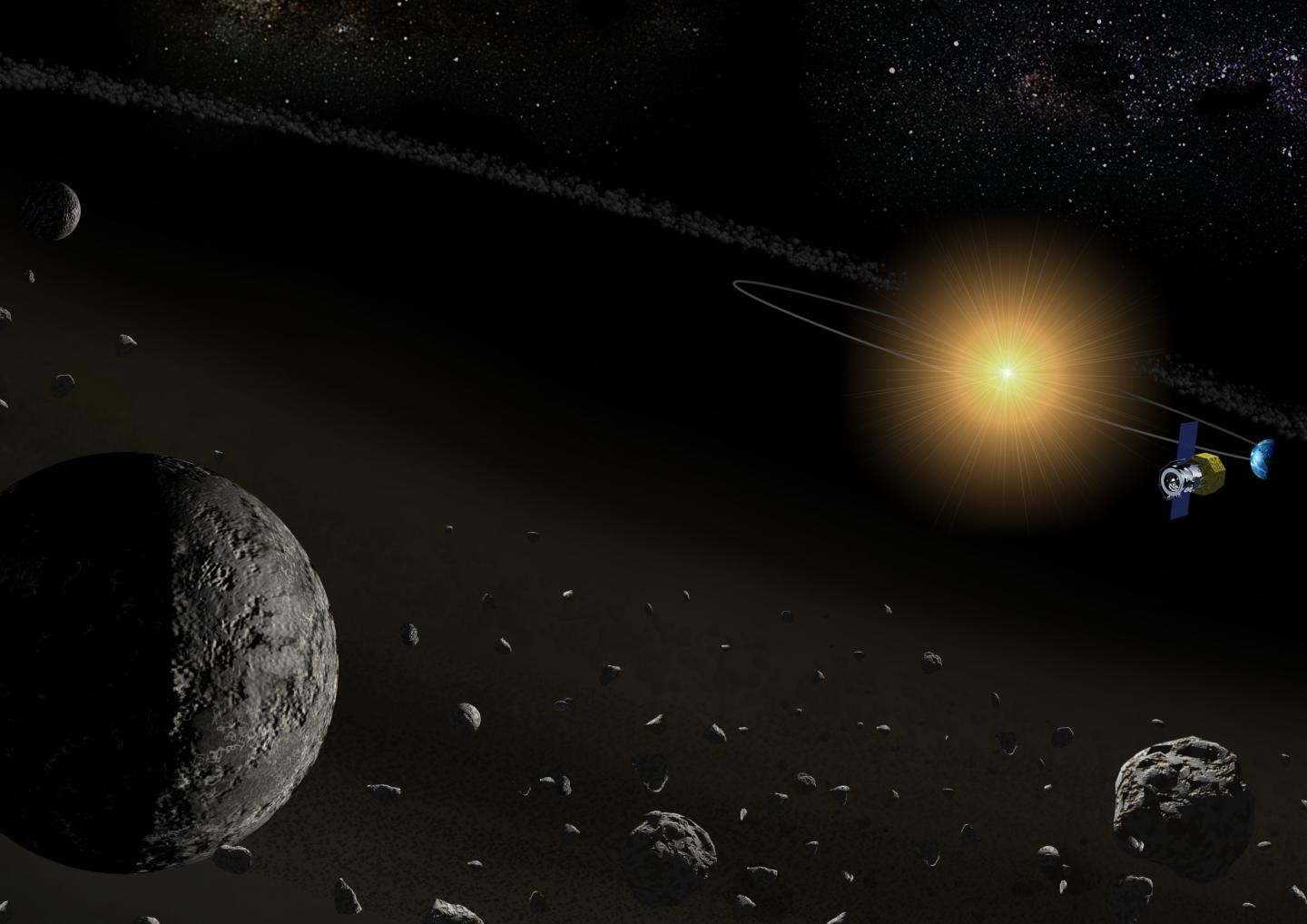 Figure 1: An Artist's Illustration of the Near-infrared Spectroscopic Observation of Asteroids