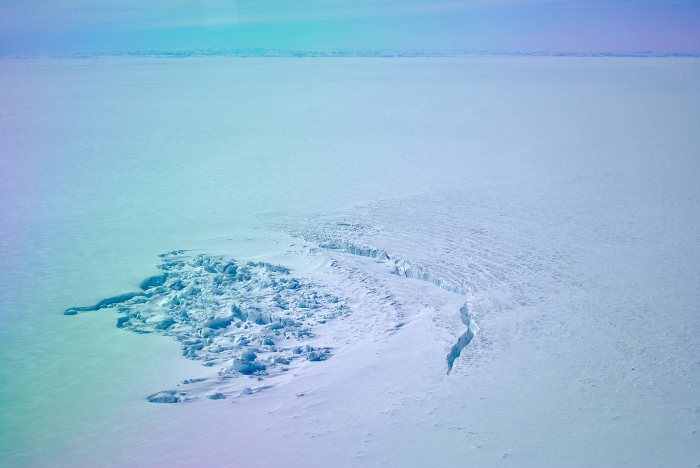 Crater Left behind by a Drained Sub-Glacial Lake in Greenland