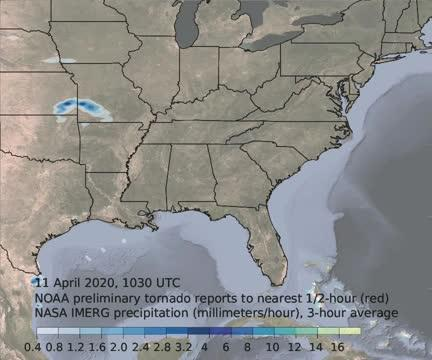 IMERG Animation of Severe Weather in the Southern U.S.