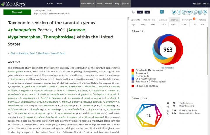 Example Of The Dimensions Badge Showing with an Article in the Arpha-Published Open Access Journal Z