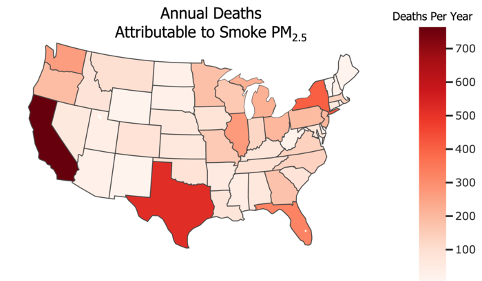 Average PM2.5 from smoke, 2006 to 2018