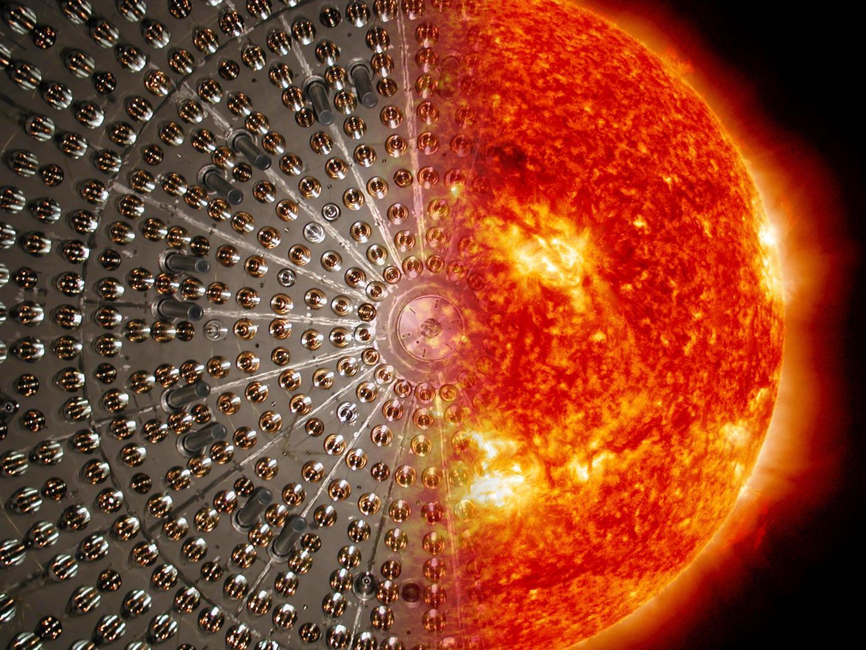 Montage: Borexino-Detector and Sun