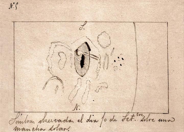 Drawing by Valderrama of the Solar Flare (1886)