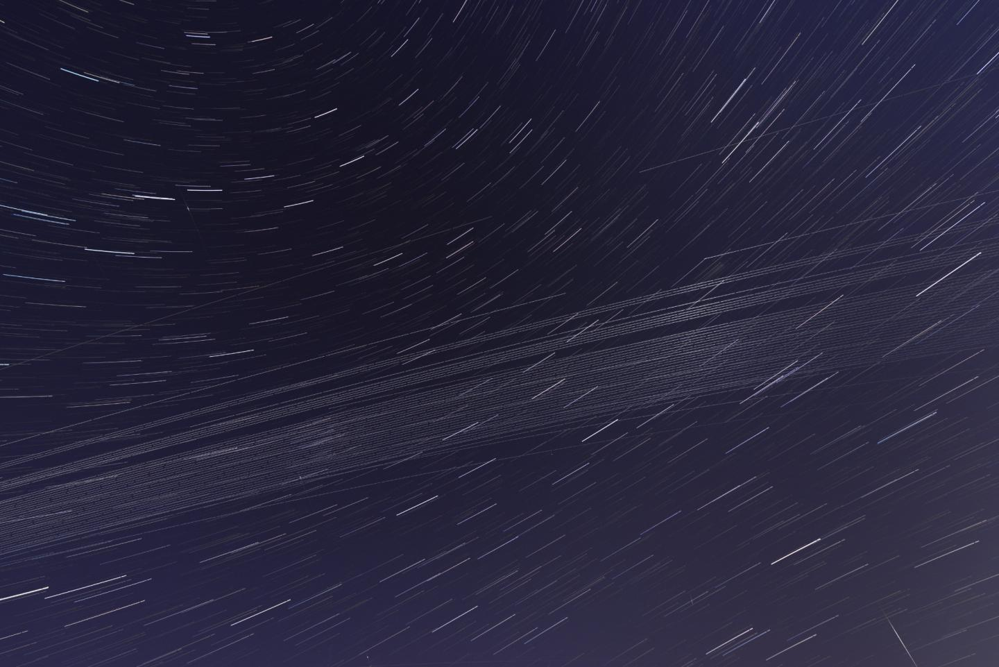 An image of trails caused by the fifth deployment of satellites making up the Starlink constellation