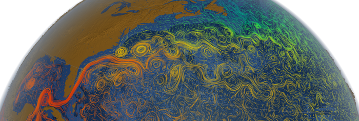 Swirling parcels of water, called ocean eddies, spin off from the warm Gulf Stream