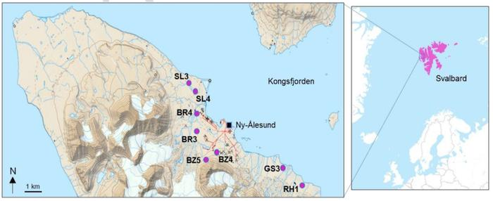 Map of Svalbard, High Arctic Samples