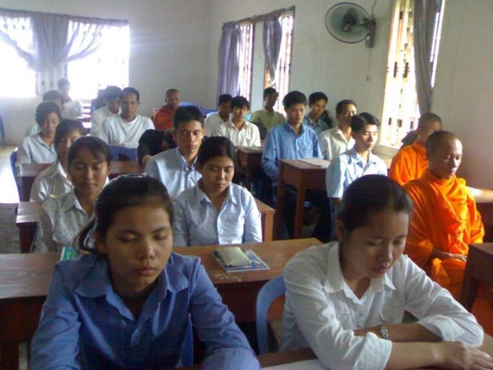 Students Meditating at Maharishi Vedic University in Cambodia