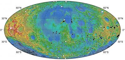Moon: Distribution of Lobate Scarp Features