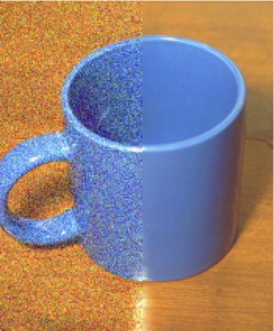 Coffee Mug with and without Visual Noise