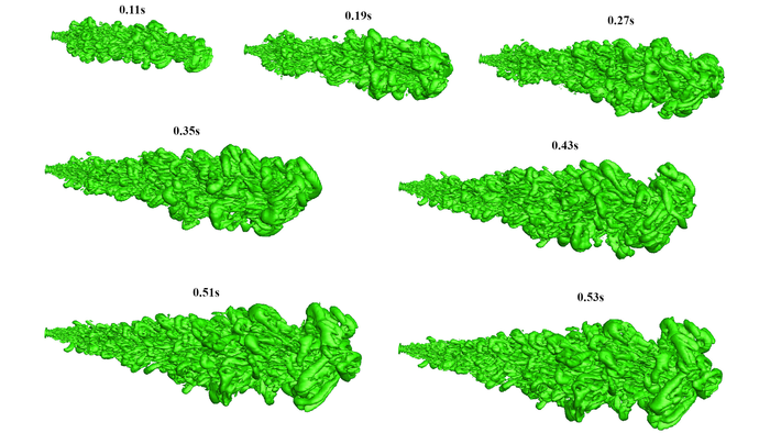 Large eddy simulation model representing the evolution of a cough jet