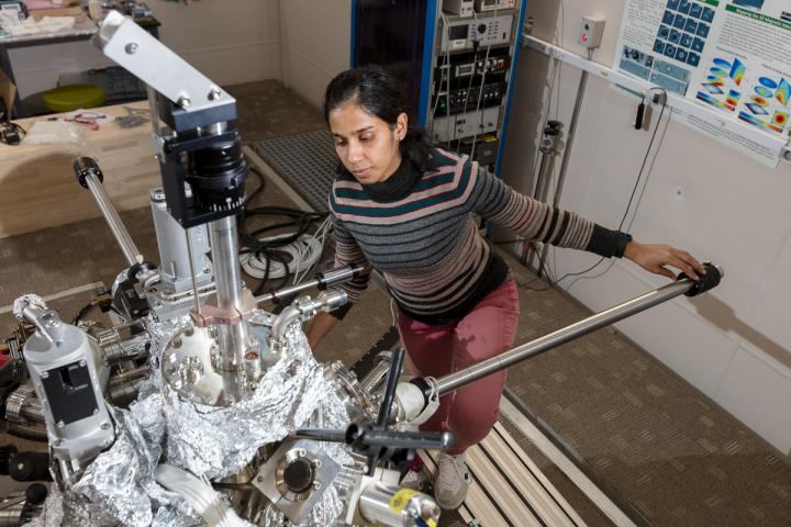 Dr. Aparajita Singha with one of the ESR-enabled STM systems at QNS