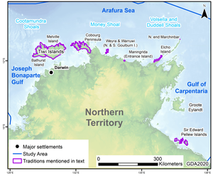 Locations of sea-level change sites in the Northern Territory