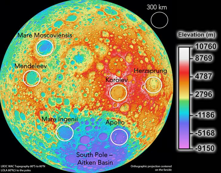 Potential sites for Moon-based cosmology telescopes