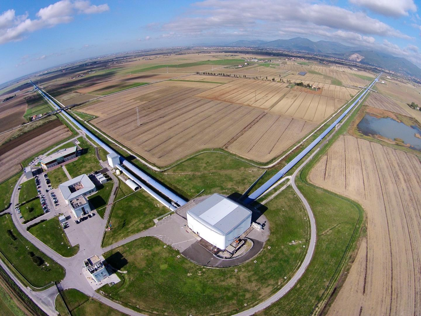 An Aerial View of the Virgo Gravitational Wave Interferometer in Cascina, Italy