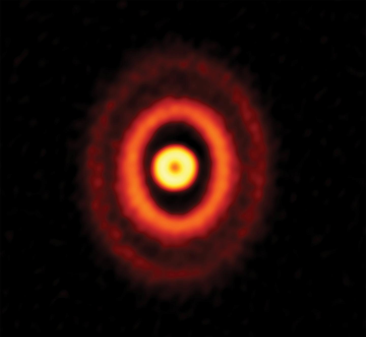 ALMA image of the protoplanetary disk around the triple young star GW Orionis