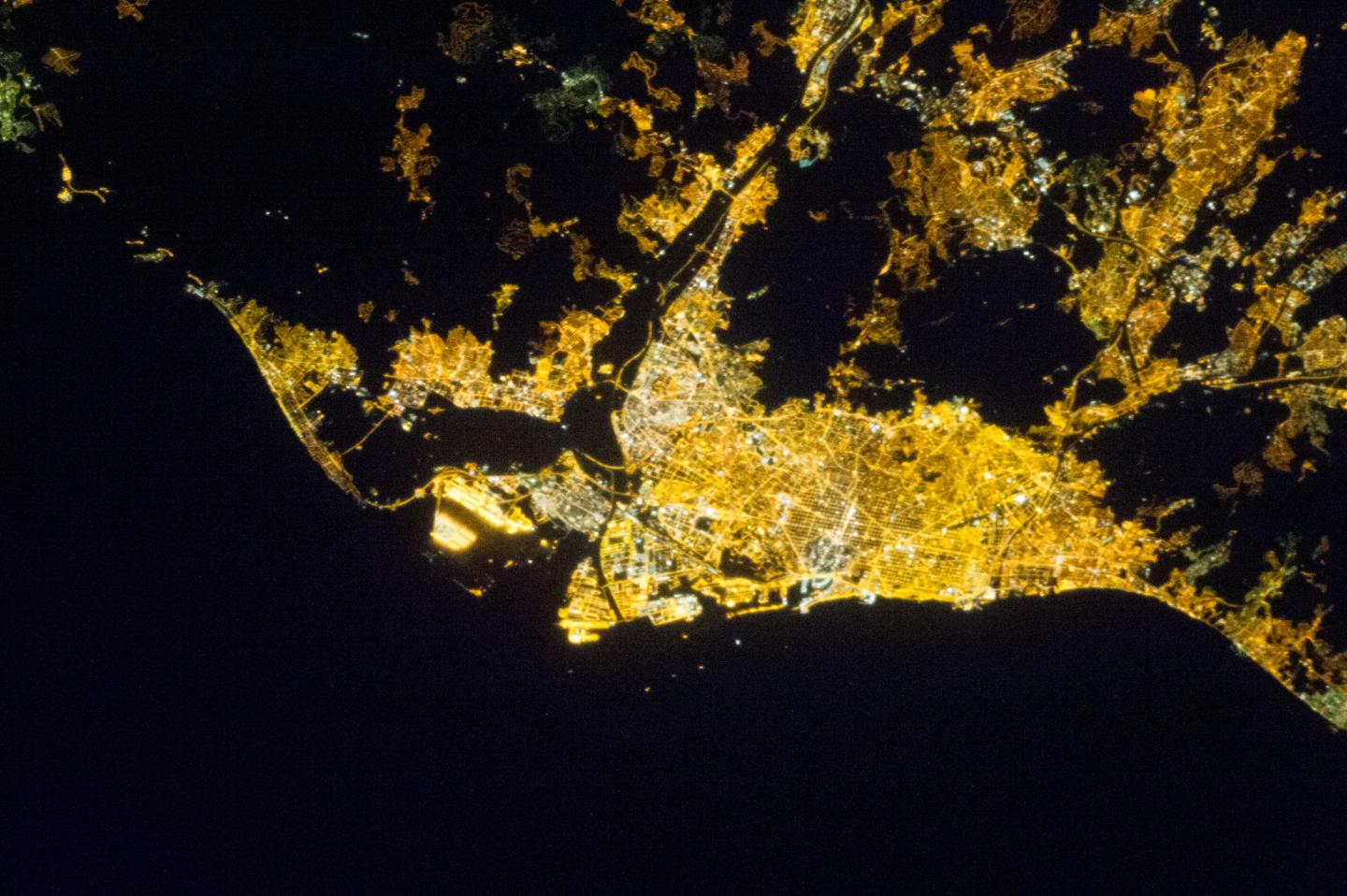 Night Image from Barcelona from Space