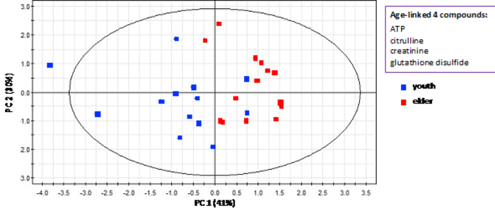 A graph showing the distribution of 27 subjects based on four age-linked metabolites as an index.