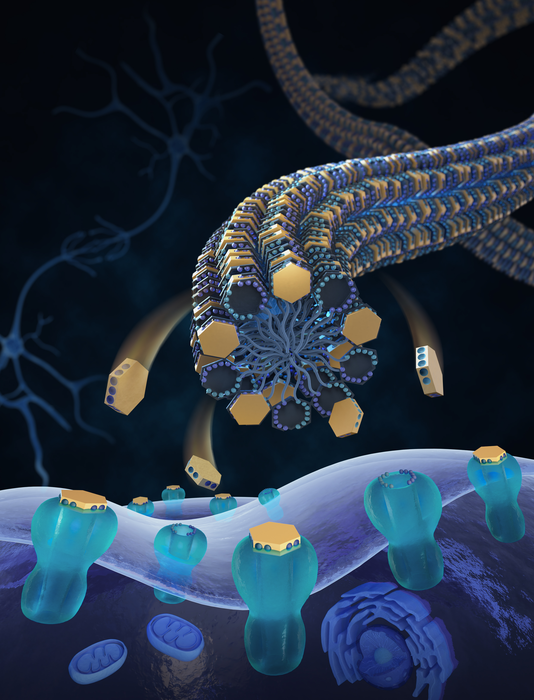 A schematic of tetrodotoxin delivery to nerve sodium channels via bioinspired nanofibers.