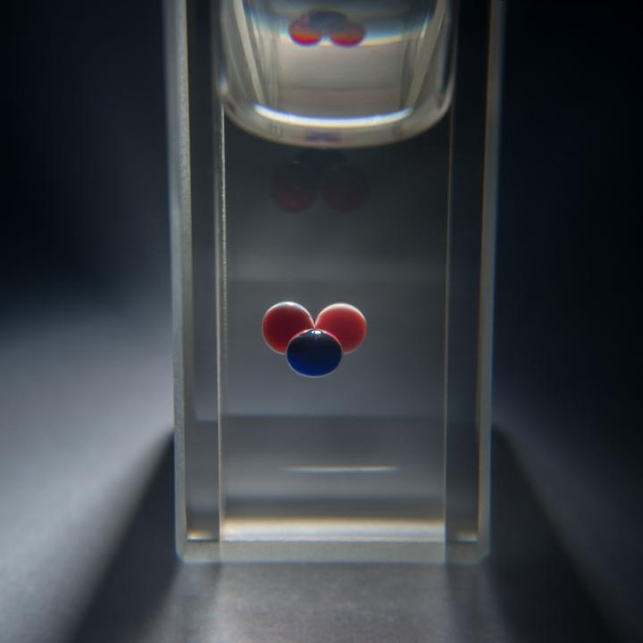 Three Droplets with Circulating Chemical Fronts Can Store Information
