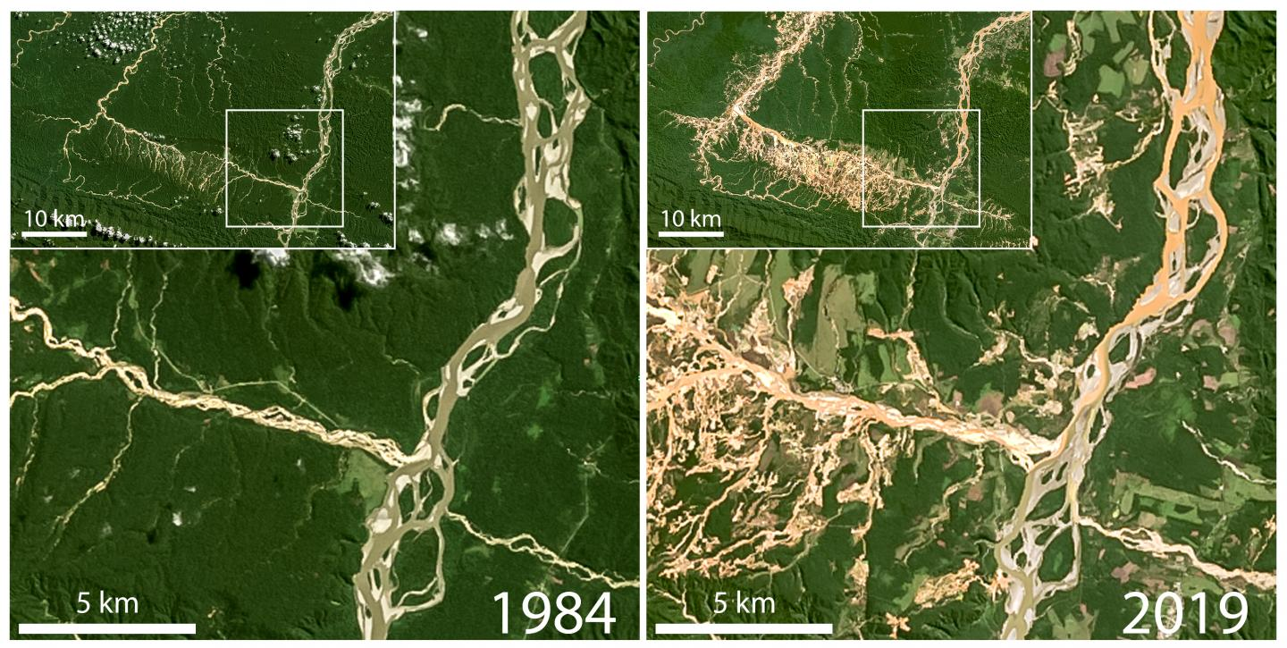 Satellite Images Showing Deforestation and Elevated Suspended Sediment Due to Gold Mining in Peru