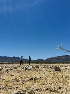 Researchers outside Stateline solar park, California