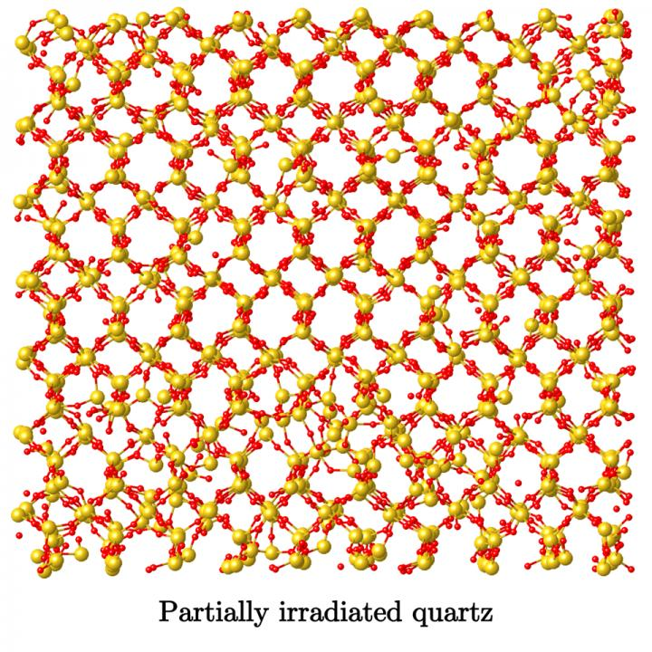 Snapshot of the Atomic Structure of a Partially Irradiated Quartz Sample
