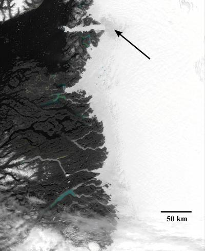 Satellite Image of Ice Melting in Western Greenland