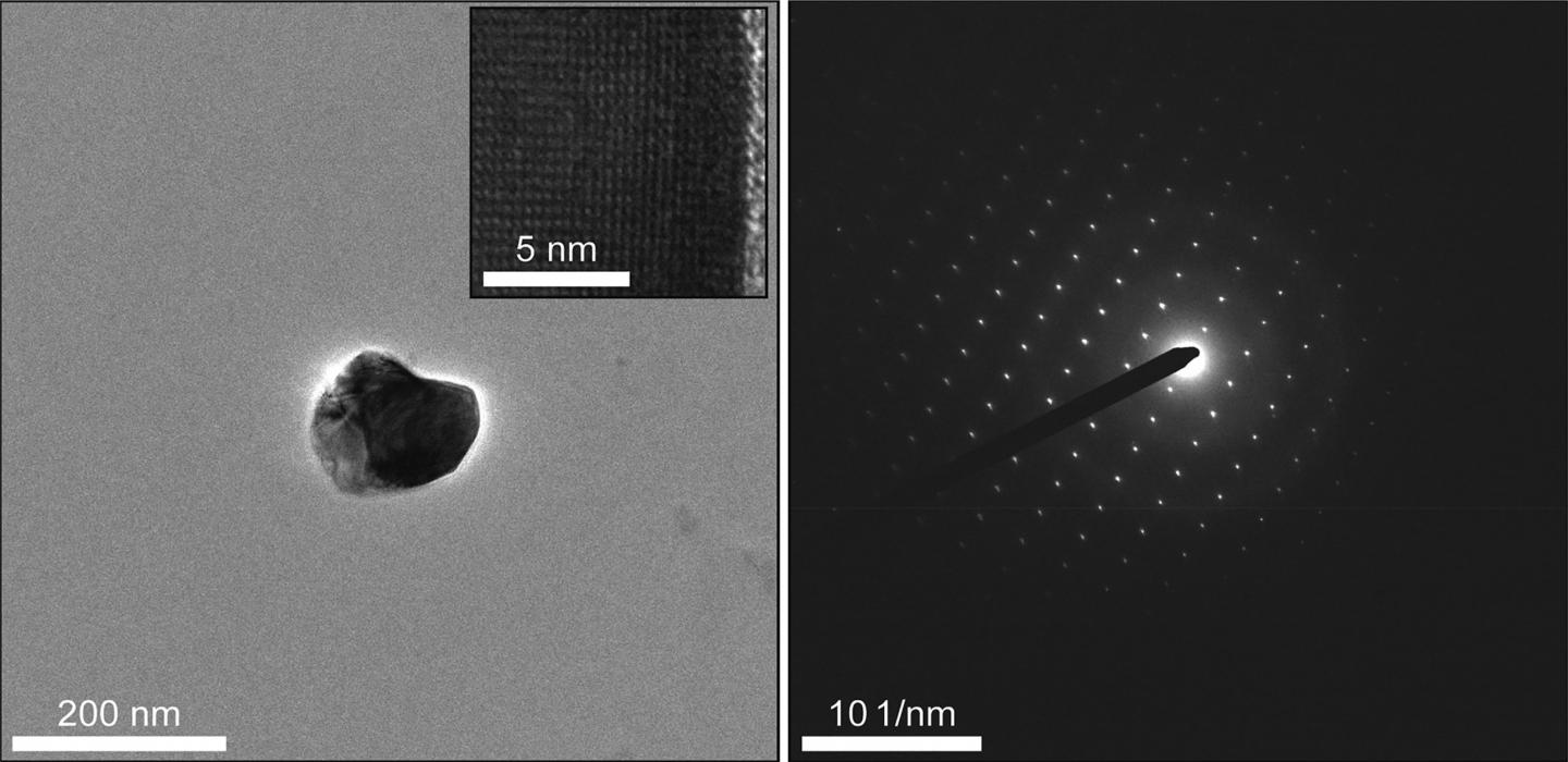 A TiO<sub>2</sub> Crystal Extracted from a T2D Pancreas and its Electron Diffraction Pattern