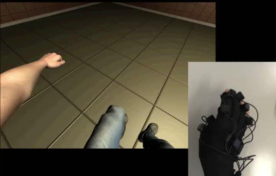 Motion image on the HMD (left) and movements of the actual right thumb (right)