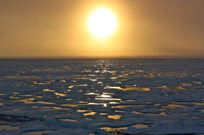 Sunset over Arctic Sea Ice
