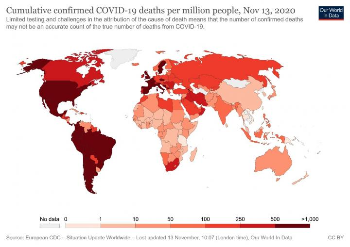 Cumulative confirmed deaths from Covid19 infection. Credit ourworldindata.org.