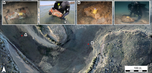 Potential grindstones identified  in the Cape Bruguieres channel, Western Australia